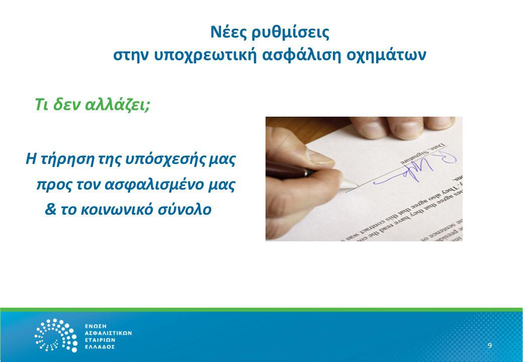 Χρήσιμες οδηγίες για τον καταναλωτή Διαβάζουμε προσεκτικά τις ενημερωτικές επιστολές της ασφαλιστικής μας εταιρίας Ελέγχουμε και γνωρίζουμε ανά πάσα στιγμή την ημερομηνία και ώρα λήξης της ασφάλισής μας και φροντίζουμε για την έγκαιρη ανανέωσή της ή για τη σύναψη νέας ασφάλισης Δεν μένουμε ούτε για μία (1) ώρα ανασφάλιστοι Δεν θέτουμε ούτε για μία (1) ώρα τους εαυτούς μας και τους συμπολίτες μας σε κίνδυνο 10