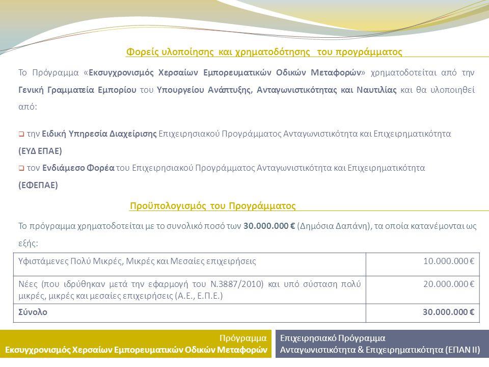 Σκοπός του προγράμματος Σκοπός του προγράμματος είναι να εξασφαλίσει στο μεγαλύτερο δυνατό βαθμό, στις ενισχυόμενες επιχειρήσεις: Συνθήκες υγιούς ανάπτυξης και βελτίωσης της ανταγωνιστικής τους θέσης, μέσω της αποτελεσματικής εφαρμογής του Ν.3887/2010 και την αξιοποίηση νέων τεχνολογιών επιχειρηματικότητας.