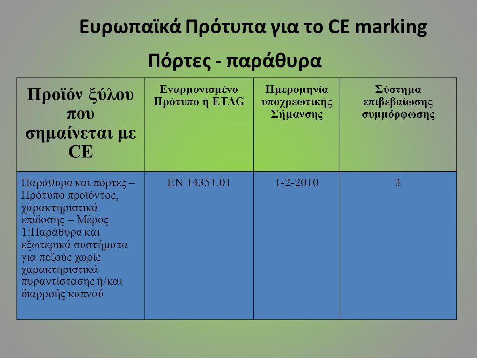 Προϊόν ξύλου που σημαίνεται με CE Εναρμονισμένο Πρότυπο ή ETAG Ημερομηνία υποχρεωτικής Σήμανσης Σύστημα επιβεβαίωσης συμμόρφωσης Παράθυρα και πόρτες –