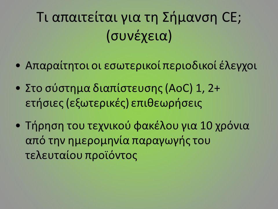 Τι απαιτείται για τη Σήμανση CE; (συνέχεια) Απαραίτητοι οι εσωτερικοί περιοδικοί έλεγχοι Στο σύστημα διαπίστευσης (AoC) 1, 2+ ετήσιες (εξωτερικές) επι