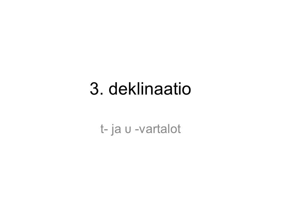 Deklinaatiot Kreikan substantiivit taipuvat kolmen deklinaation mukaan: 1.