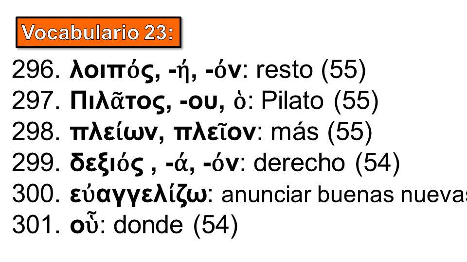 296. λοιπ ό ς, - ή, - ό ν: resto (55) 297. Πιλ ᾶ τος, -ου, ὁ : Pilato (55) 298.