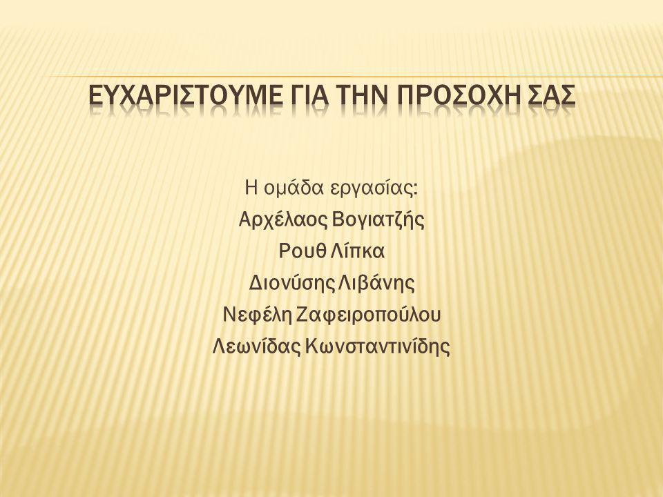 Η ομάδα εργασίας: Αρχέλαος Βογιατζής Ρουθ Λίπκα Διονύσης Λιβάνης Νεφέλη Ζαφειροπούλου Λεωνίδας Κωνσταντινίδης