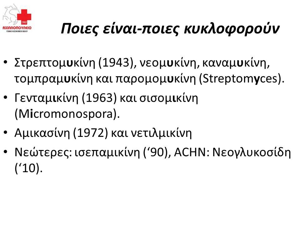 Ποιες είναι-ποιες κυκλοφορούν Στρεπτομυκίνη (1943), νεομυκίνη, καναμυκίνη, τομπραμυκίνη και παρομομυκίνη (Streptomyces). Γενταμικίνη (1963) και σισομι
