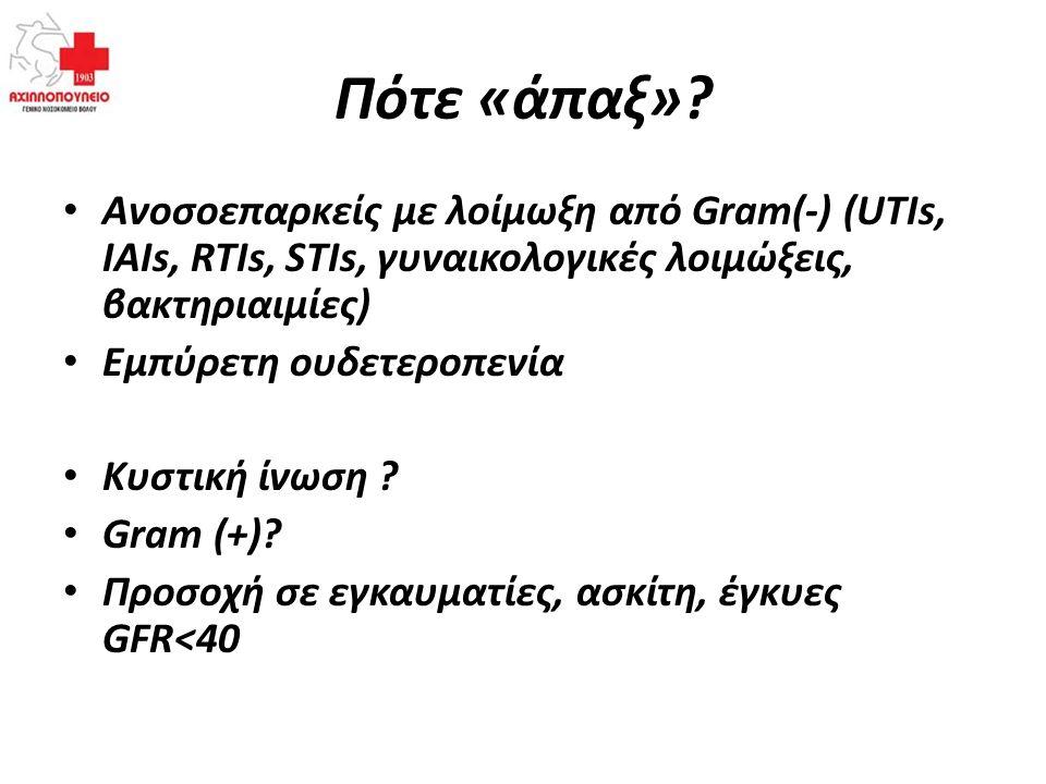 Πότε «άπαξ»? Ανοσοεπαρκείς με λοίμωξη από Gram(-) (UTIs, IAIs, RTIs, STIs, γυναικολογικές λοιμώξεις, βακτηριαιμίες) Εμπύρετη ουδετεροπενία Κυστική ίνω
