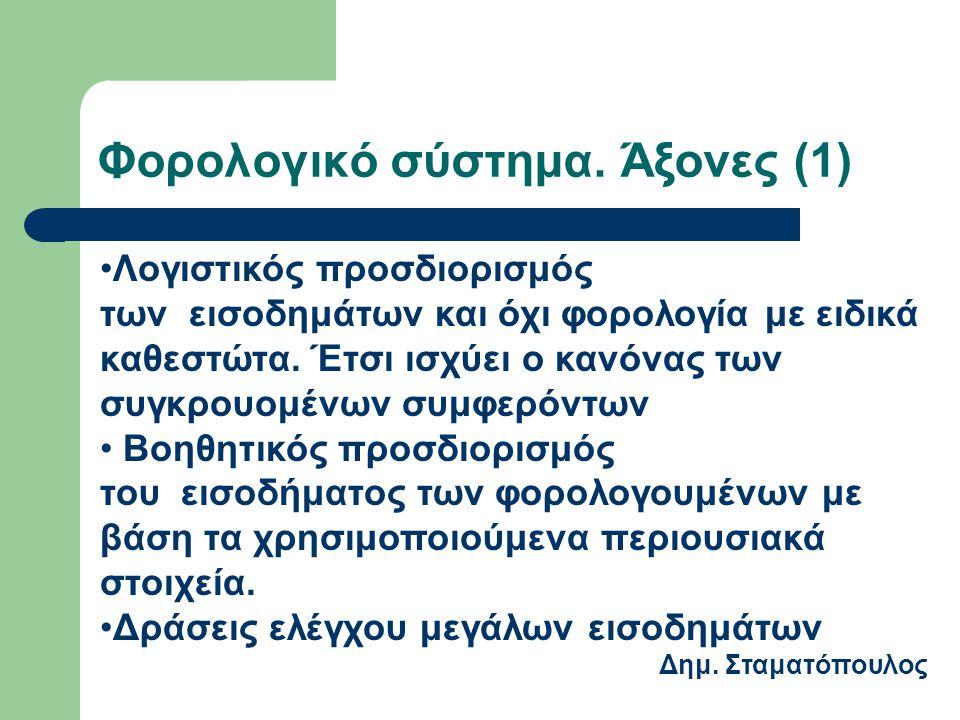 Φορολογικό σύστημα. Άξονες (1) Λογιστικός προσδιορισμός των εισοδημάτων και όχι φορολογία με ειδικά καθεστώτα. Έτσι ισχύει ο κανόνας των συγκρουομένων