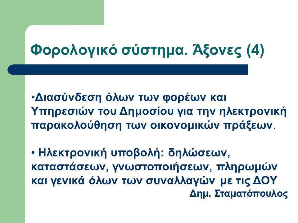 Φορολογικό σύστημα. Άξονες (4) Διασύνδεση όλων των φορέων και Υπηρεσιών του Δημοσίου για την ηλεκτρονική παρακολούθηση των οικονομικών πράξεων. Ηλεκτρ