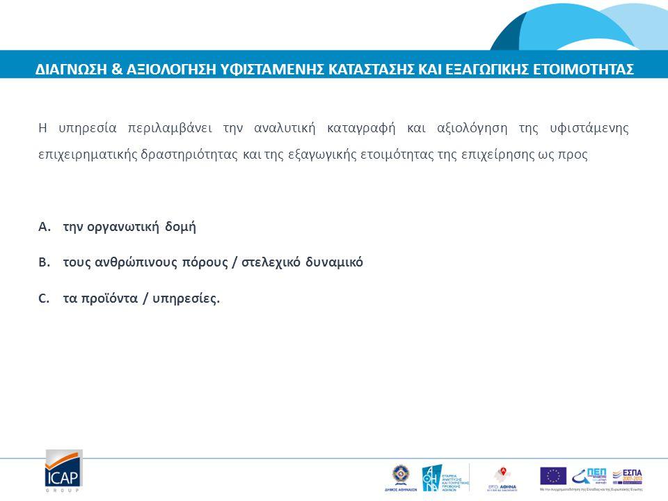 Η υπηρεσία περιλαμβάνει την αναλυτική καταγραφή και αξιολόγηση της υφιστάμενης επιχειρηματικής δραστηριότητας και της εξαγωγικής ετοιμότητας της επιχε