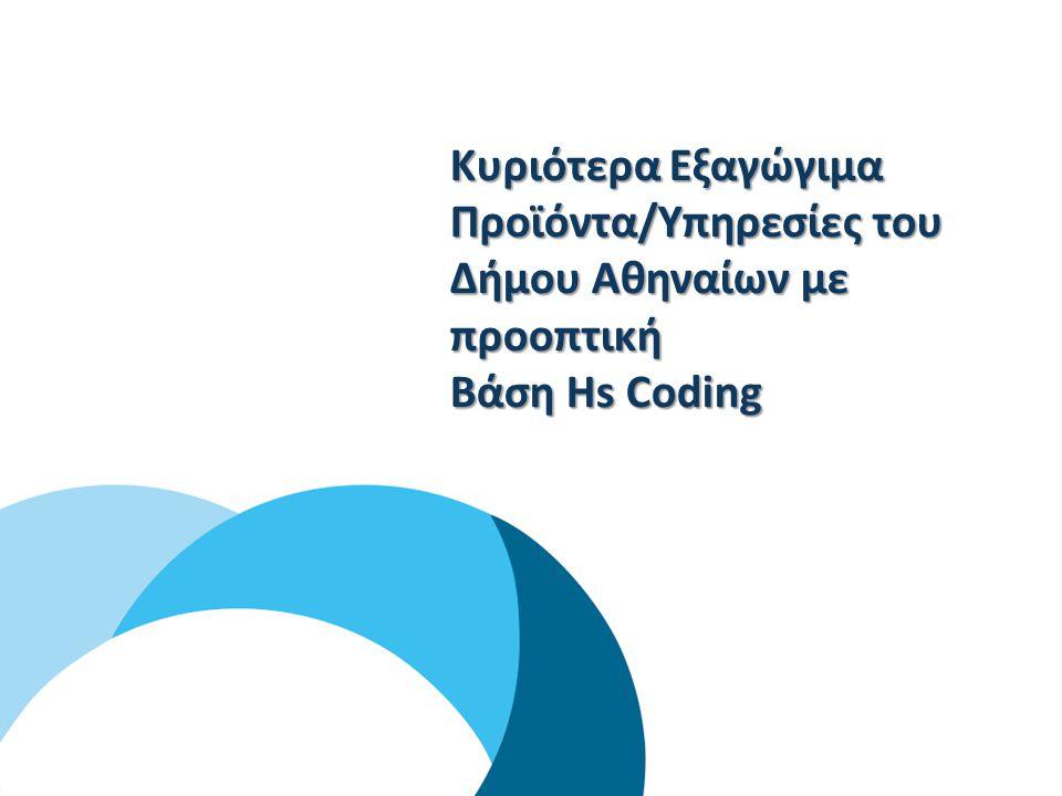 1 Ο ΒΗΜΑ Συσχέτιση και αντιστοιχία κωδικών NACE με το HS Coding System & διασταύρωση των αποτελεσμάτων με τα στοιχεία διάρθρωσης των εθνικών εξαγωγών 2 Ο ΒΗΜΑ Προσδιορισμός των κυριότερων εξαγώγιμων προϊόντων / υπηρεσιών των επιχειρήσεων του Δήμου Αθηναίων & των μεγαλύτερων εισαγωγών – χωρών σε εθνικό επίπεδο 3 Ο ΒΗΜΑ Προσδιορισμός και αξιολόγηση των κυριότερων αγορών – στόχων για κάθε προϊόν / υπηρεσία 4 Ο ΒΗΜΑ Προσδιορισμός και ανάλυση των βασικών αγορών – στόχων για τα προϊόντα / υπηρεσίες των επιχειρήσεων του Δήμου Αθηναίων στο σύνολό τους ΜΕΘΟΔΟΛΟΓΙΚΗ ΠΡΟΣΕΓΓΙΣΗ