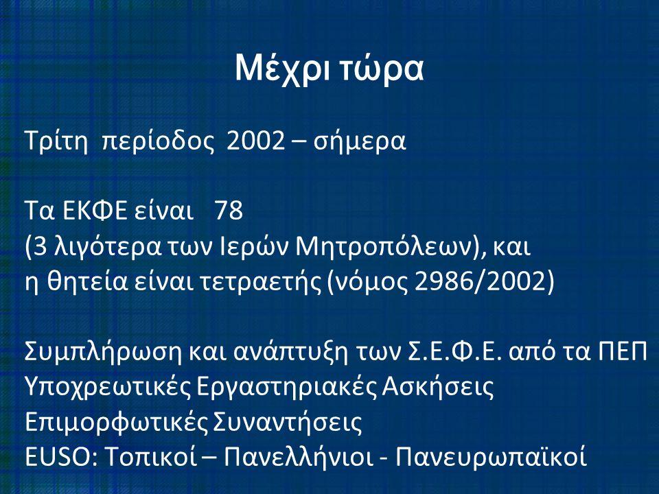 Τρίτη περίοδος 2002 – σήμερα Τα ΕΚΦΕ είναι 78 (3 λιγότερα των Ιερών Μητροπόλεων), και η θητεία είναι τετραετής (νόμος 2986/2002) Συμπλήρωση και ανάπτυ