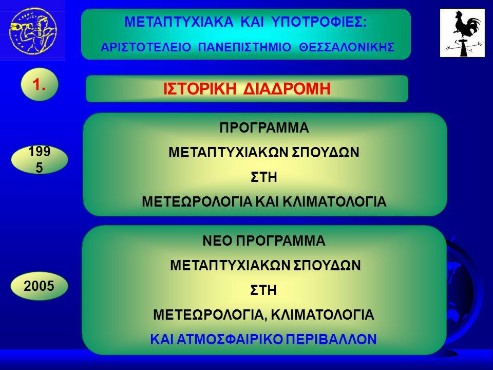 ΑΝΤΙΚΕΙΜΕΝΟ - ΣΚΟΠΟΣ Η ειδίκευση πτυχιούχων στη Μετεωρολογία, Κλιματολογία και Ατμοσφαιρικό Περιβάλλον.