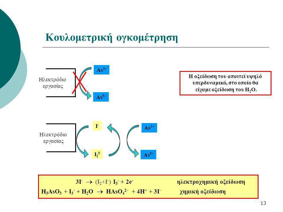 13 Κουλομετρική ογκομέτρηση Ηλεκτρόδιο εργασίας As 3+ As 5+ Η οξείδωση του απαιτεί υψηλό υπερδυναμικό, στο οποίο θα είχαμε οξείδωση του Η 2 Ο. Ηλεκτρό