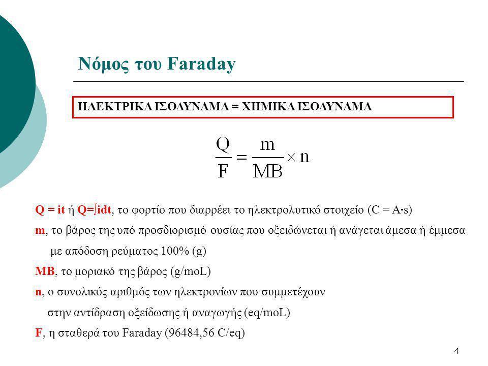 4 Νόμος του Faraday ΗΛΕΚΤΡΙΚΑ ΙΣΟΔΥΝΑΜΑ = ΧΗΜΙΚΑ ΙΣΟΔΥΝΑΜA Q = it ή Q=∫idt, το φορτίο που διαρρέει το ηλεκτρολυτικό στοιχείο (C = A  s) m, το βάρος τ