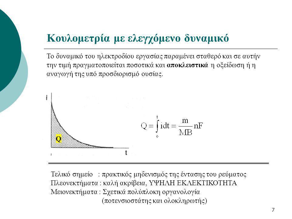 7 Κουλομετρία με ελεγχόμενο δυναμικό Το δυναμικό του ηλεκτροδίου εργασίας παραμένει σταθερό και σε αυτήν την τιμή πραγματοποιείται ποσοτικά και αποκλε