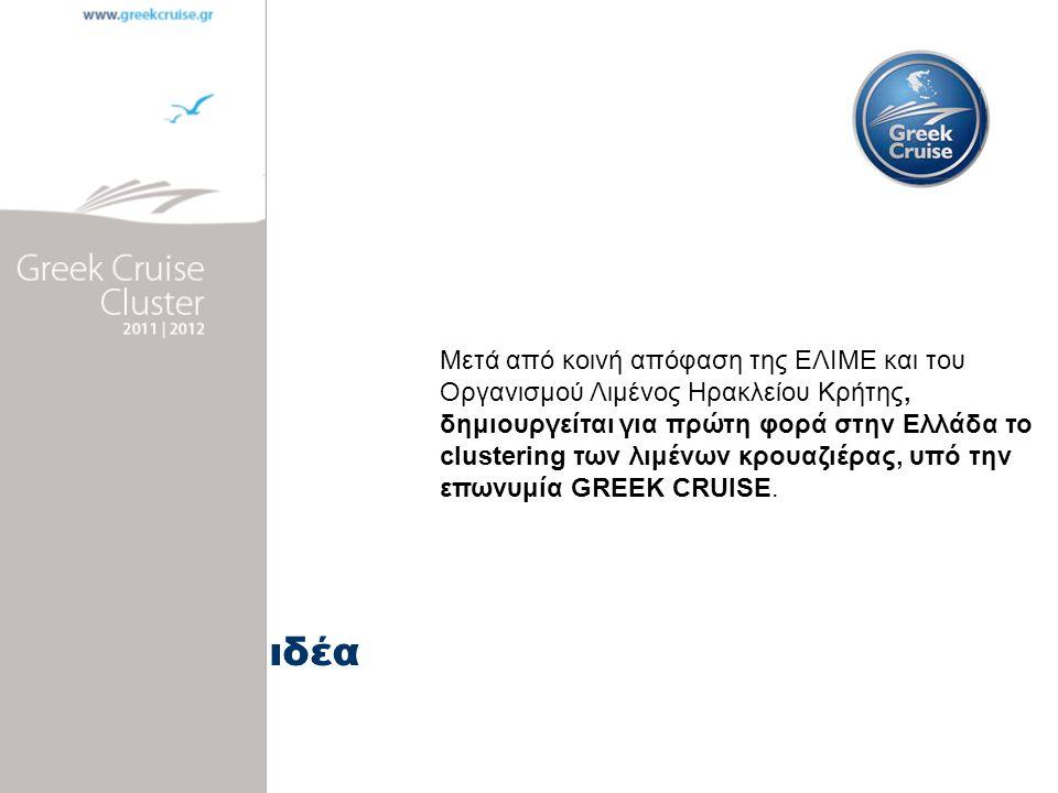 Κεντρική ιδέα Μετά από κοινή απόφαση της ΕΛΙΜΕ και του Οργανισμού Λιμένος Ηρακλείου Κρήτης, δημιουργείται για πρώτη φορά στην Ελλάδα το clustering των λιμένων κρουαζιέρας, υπό την επωνυμία GREEK CRUISE.