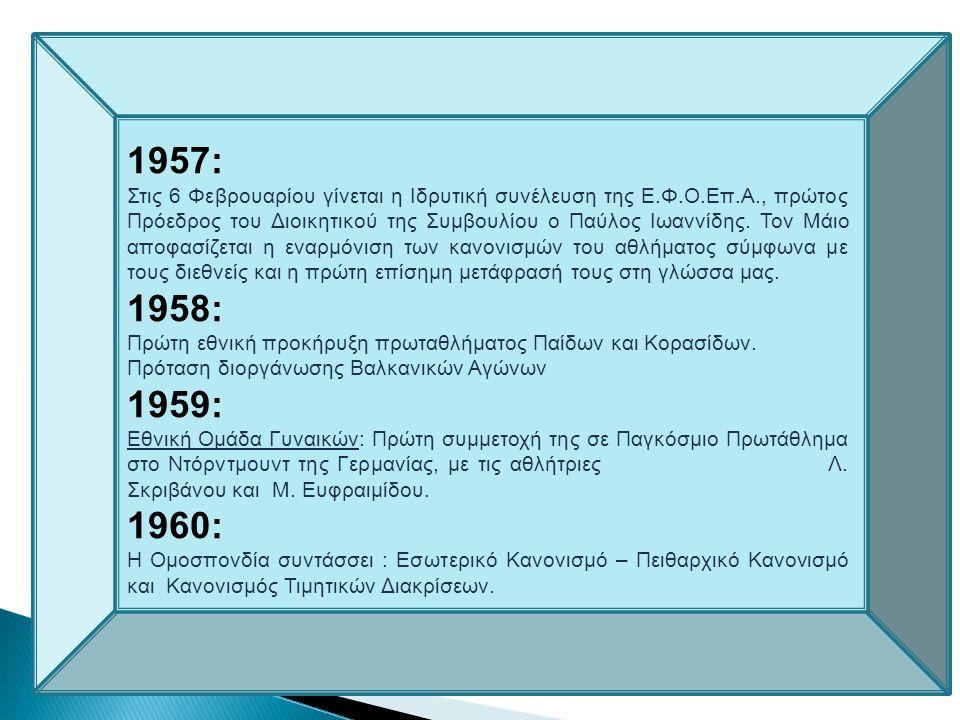  Στις 26 Νοεμβρίου ιδρύεται η «Ελληνική Φίλαθλος Ομοσπονδία Επιτραπεζίου Αντισφαιρίσεως» η Ε.Φ.Ο.Επ.Α. (απόφαση 15389/1956 Πρωτοδικείου Αθηνών ) 2007