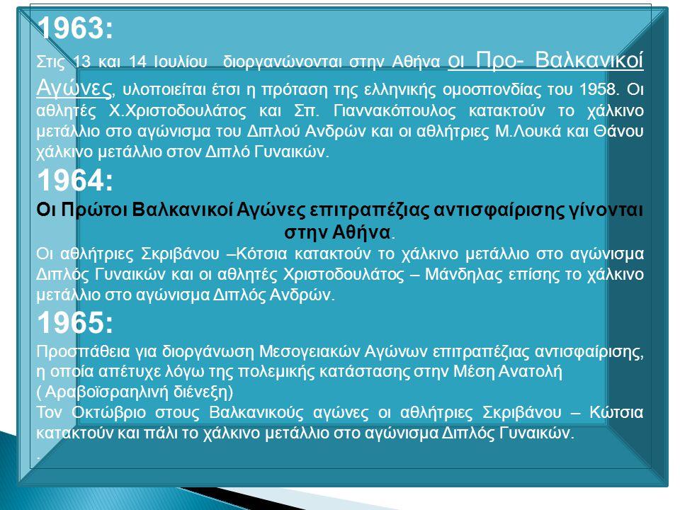 Όλα αυτά τα χρόνια οι Έλληνες αθλητές και οι Ελληνίδες αθλήτριες αγωνίσθηκαν και διακρίθηκαν στην Ελλάδα και στο εξωτερικό. Με δύσκολες συνθήκες προπό