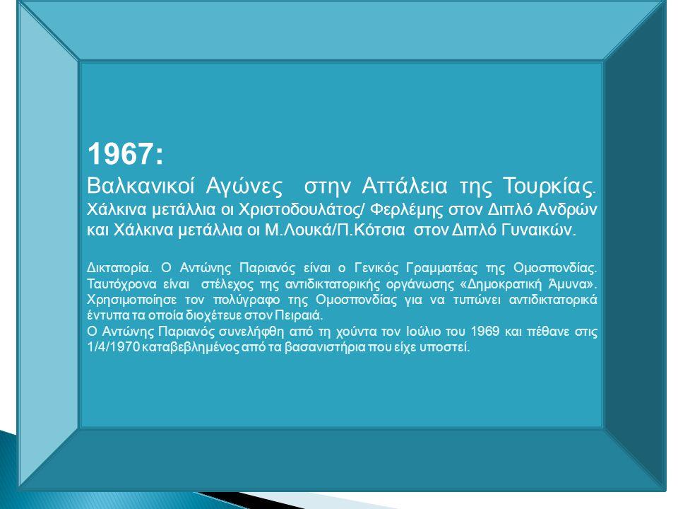 1963: Στις 13 και 14 Ιουλίου διοργανώνονται στην Αθήνα οι Προ- Βαλκανικοί Αγώνες, υλοποιείται έτσι η πρόταση της ελληνικής ομοσπονδίας του 1958. Οι αθ