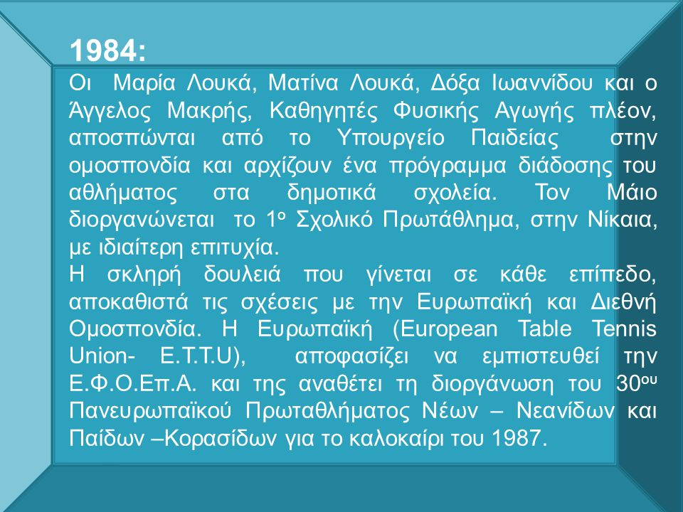 1984: Οι Μαρία Λουκά, Ματίνα Λουκά, Δόξα Ιωαννίδου και ο Άγγελος Μακρής, Καθηγητές Φυσικής Αγωγής πλέον, αποσπώνται από το Υπουργείο Παιδείας στην ομοσπονδία και αρχίζουν ένα πρόγραμμα διάδοσης του αθλήματος στα δημοτικά σχολεία.