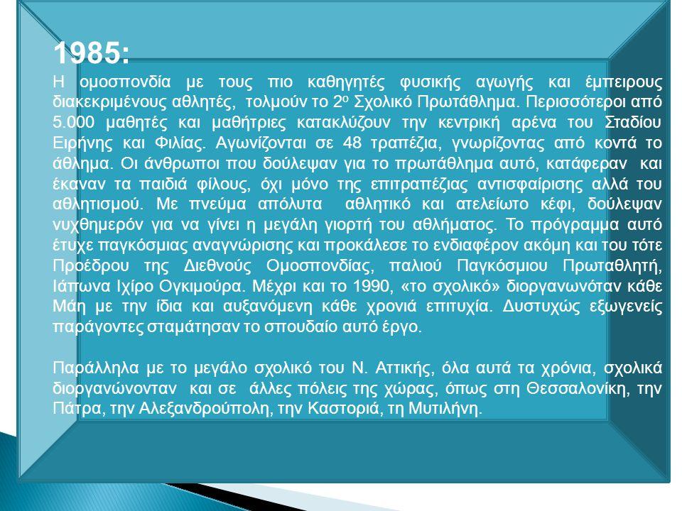 1985 2 ο Σχολικό Πρωτάθλημα στο ΣΕΦ 48 τραπέζια