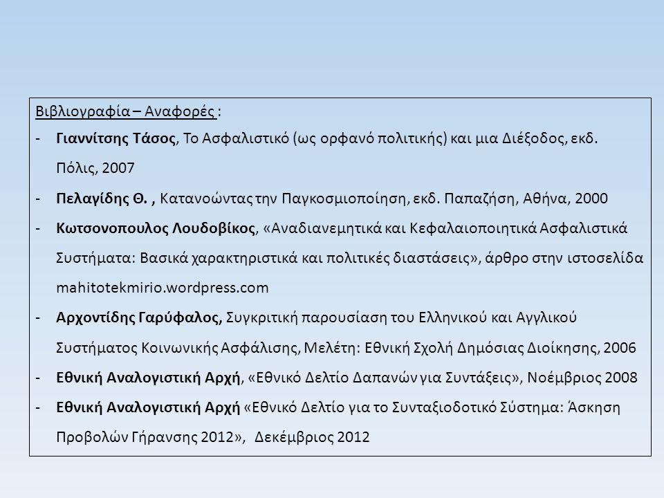 Βιβλιογραφία – Αναφορές : -Γιαννίτσης Τάσος, Το Ασφαλιστικό (ως ορφανό πολιτικής) και μια Διέξοδος, εκδ. Πόλις, 2007 -Πελαγίδης Θ., Κατανοώντας την Πα