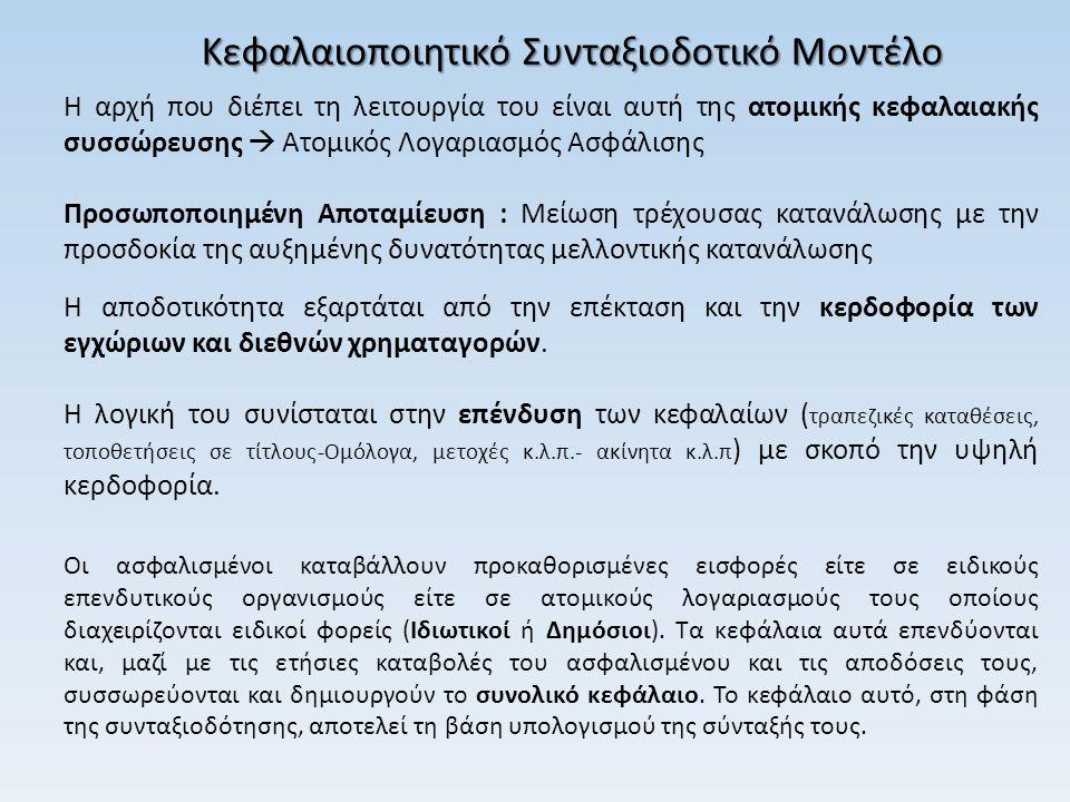 Κεφαλαιοποιητικό Συνταξιοδοτικό Μοντέλο Η αρχή που διέπει τη λειτουργία του είναι αυτή της ατομικής κεφαλαιακής συσσώρευσης  Ατομικός Λογαριασμός Ασφ