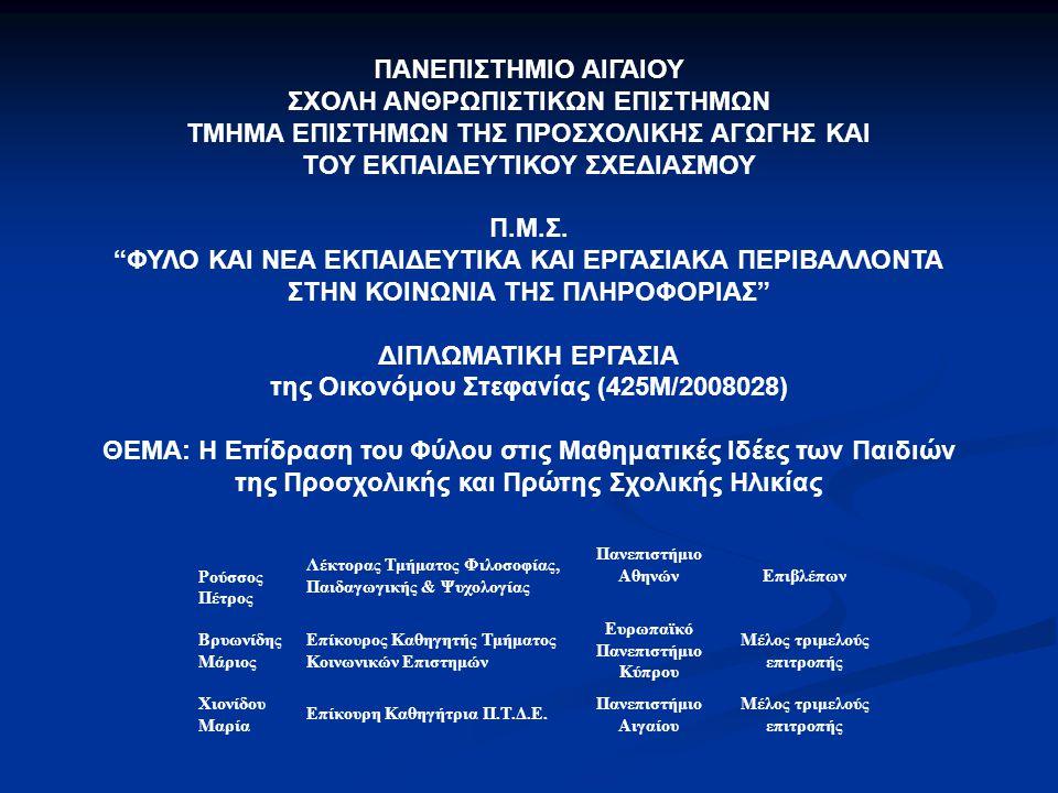 Ρούσσος Πέτρος Λέκτορας Τμήματος Φιλοσοφίας, Παιδαγωγικής & Ψυχολογίας Πανεπιστήμιο Αθηνών Επιβλέπων Βρυωνίδης Μάριος Επίκουρος Καθηγητής Τμήματος Κοι