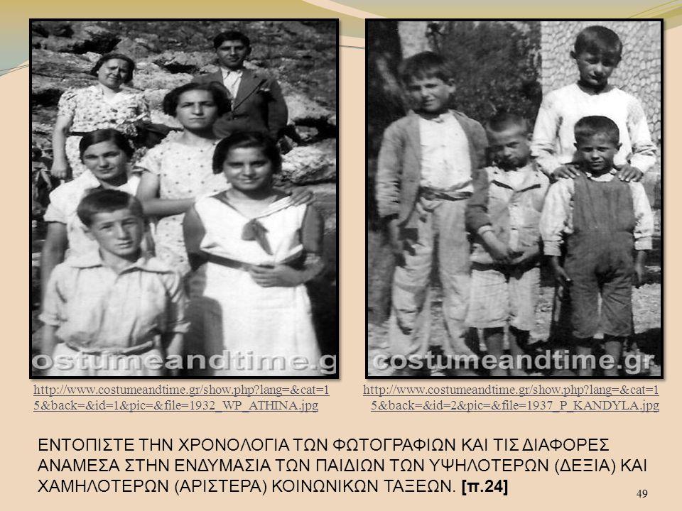 49 ΕΝΤΟΠΙΣΤΕ ΤΗΝ ΧΡΟΝΟΛΟΓΙΑ ΤΩΝ ΦΩΤΟΓΡΑΦΙΩΝ ΚΑΙ ΤΙΣ ΔΙΑΦΟΡΕΣ ΑΝΑΜΕΣΑ ΣΤΗΝ ΕΝΔΥΜΑΣΙΑ ΤΩΝ ΠΑΙΔΙΩΝ ΤΩΝ ΥΨΗΛΟΤΕΡΩΝ (ΔΕΞΙΑ) ΚΑΙ ΧΑΜΗΛΟΤΕΡΩΝ (ΑΡΙΣΤΕΡΑ) ΚΟΙΝΩΝΙΚΩΝ ΤΑΞΕΩΝ.