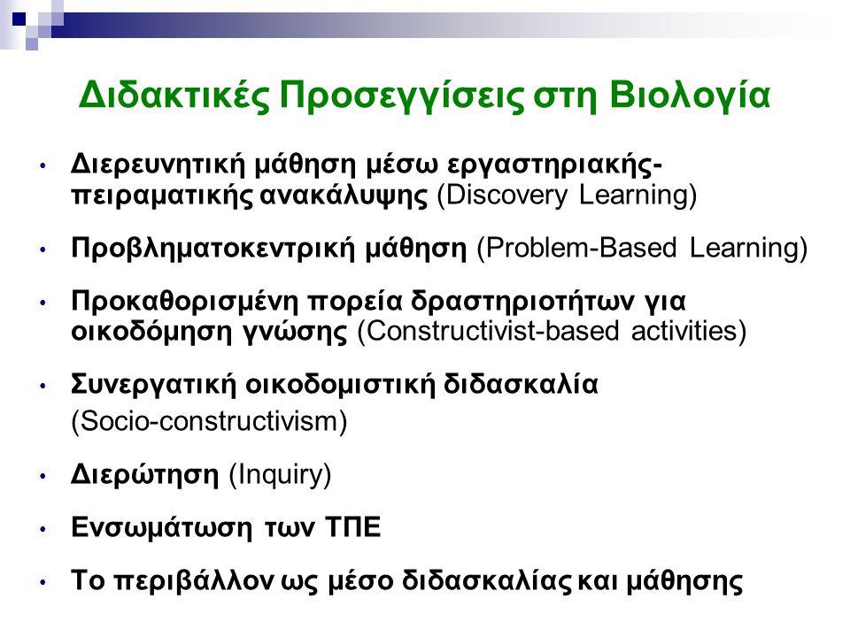 Διδακτικές Προσεγγίσεις στη Βιολογία Διερευνητική μάθηση μέσω εργαστηριακής- πειραματικής ανακάλυψης (Discovery Learning) Προβληματοκεντρική μάθηση (Problem-Based Learning) Προκαθορισμένη πορεία δραστηριοτήτων για οικοδόμηση γνώσης (Constructivist-based activities) Συνεργατική οικοδομιστική διδασκαλία (Socio-constructivism) Διερώτηση (Inquiry) Ενσωμάτωση των ΤΠΕ To περιβάλλον ως μέσο διδασκαλίας και μάθησης