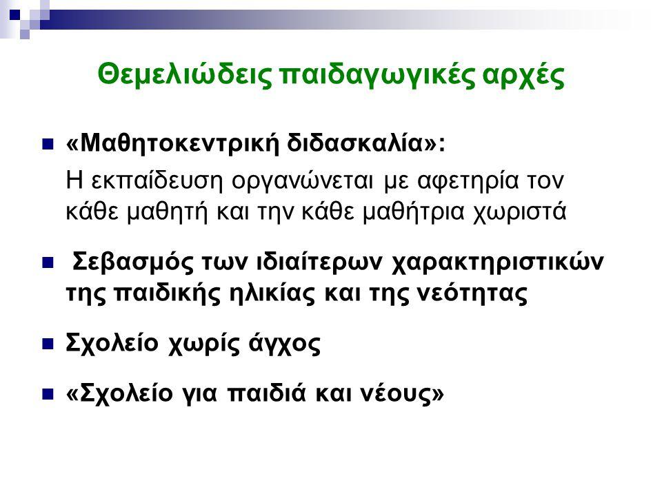 Θεμελιώδεις παιδαγωγικές αρχές «Μαθητοκεντρική διδασκαλία»: Η εκπαίδευση οργανώνεται με αφετηρία τον κάθε μαθητή και την κάθε μαθήτρια χωριστά Σεβασμός των ιδιαίτερων χαρακτηριστικών της παιδικής ηλικίας και της νεότητας Σχολείο χωρίς άγχος «Σχολείο για παιδιά και νέους»