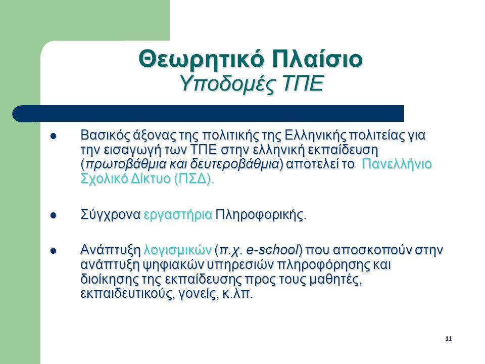 11 Θεωρητικό Πλαίσιο Υποδομές ΤΠΕ Βασικός άξονας της πολιτικής της Ελληνικής πολιτείας για την εισαγωγή των ΤΠΕ στην ελληνική εκπαίδευση (πρωτοβάθμια και δευτεροβάθμια) αποτελεί το Πανελλήνιο Σχολικό Δίκτυο (ΠΣΔ).