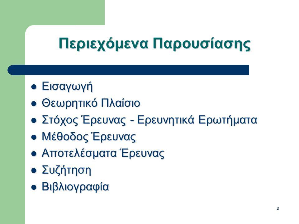 2 Περιεχόμενα Παρουσίασης Εισαγωγή Εισαγωγή Θεωρητικό Πλαίσιο Θεωρητικό Πλαίσιο Στόχος Έρευνας - Ερευνητικά Ερωτήματα Στόχος Έρευνας - Ερευνητικά Ερωτήματα Μέθοδος Έρευνας Μέθοδος Έρευνας Αποτελέσματα Έρευνας Αποτελέσματα Έρευνας Συζήτηση Συζήτηση Βιβλιογραφία Βιβλιογραφία