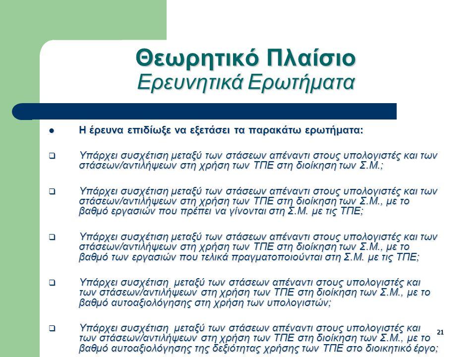 21 Θεωρητικό Πλαίσιο Ερευνητικά Ερωτήματα Η έρευνα επιδίωξε να εξετάσει τα παρακάτω ερωτήματα: Η έρευνα επιδίωξε να εξετάσει τα παρακάτω ερωτήματα:  Υπάρχει συσχέτιση μεταξύ των στάσεων απέναντι στους υπολογιστές και των στάσεων/αντιλήψεων στη χρήση των ΤΠΕ στη διοίκηση των Σ.Μ.;  Υπάρχει συσχέτιση μεταξύ των στάσεων απέναντι στους υπολογιστές και των στάσεων/αντιλήψεων στη χρήση των ΤΠΕ στη διοίκηση των Σ.Μ., με το βαθμό εργασιών που πρέπει να γίνονται στη Σ.Μ.