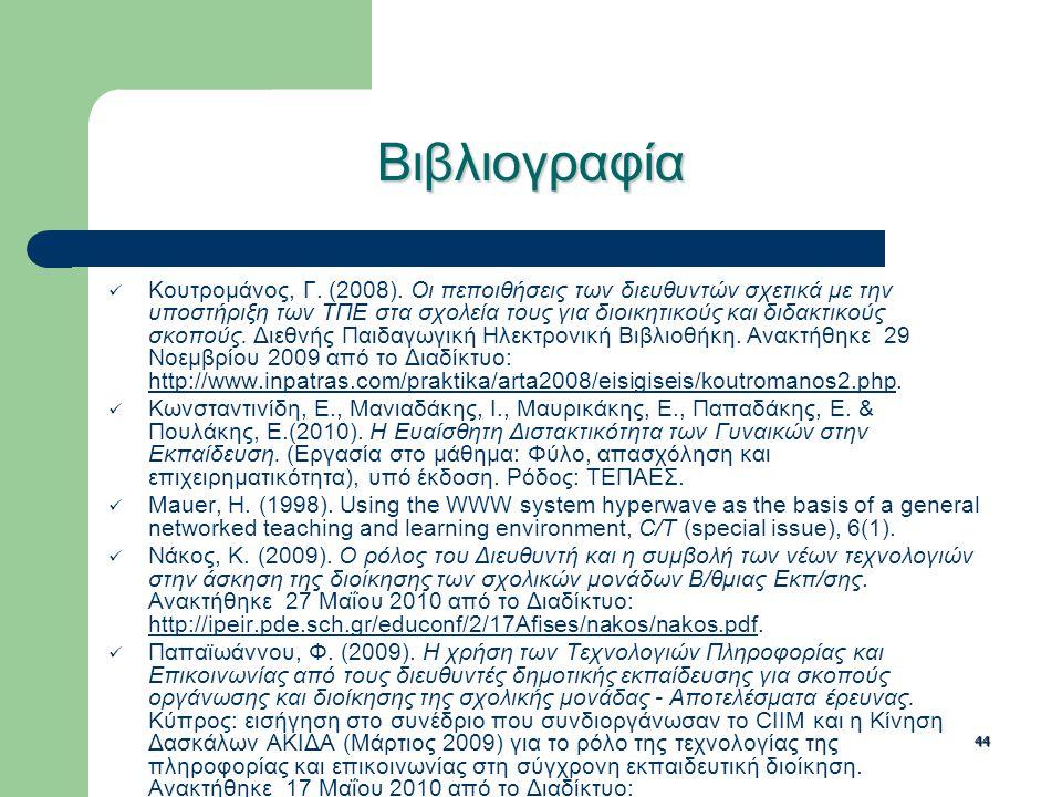 44 Βιβλιογραφία Κουτρομάνος, Γ. (2008). Οι πεποιθήσεις των διευθυντών σχετικά με την υποστήριξη των ΤΠΕ στα σχολεία τους για διοικητικούς και διδακτικ