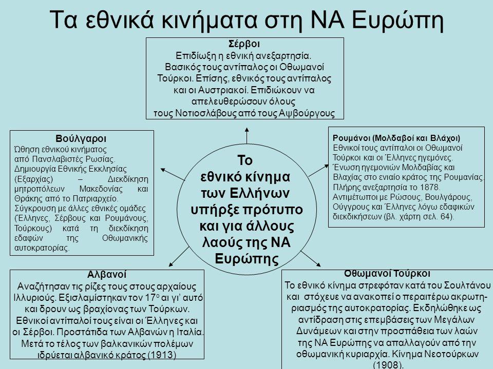 Τα εθνικά κινήματα στη ΝΑ Ευρώπη Το εθνικό κίνημα των Ελλήνων υπήρξε πρότυπο και για άλλους λαούς της ΝΑ Ευρώπης Σέρβοι Επιδίωξη η εθνική ανεξαρτησία.