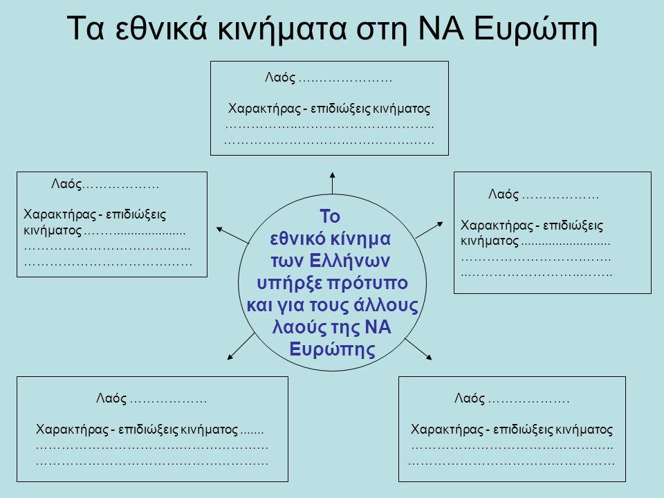 Τα εθνικά κινήματα στη ΝΑ Ευρώπη Το εθνικό κίνημα των Ελλήνων υπήρξε πρότυπο και για τους άλλους λαούς της ΝΑ Ευρώπης Λαός ….……………… Χαρακτήρας - επιδι