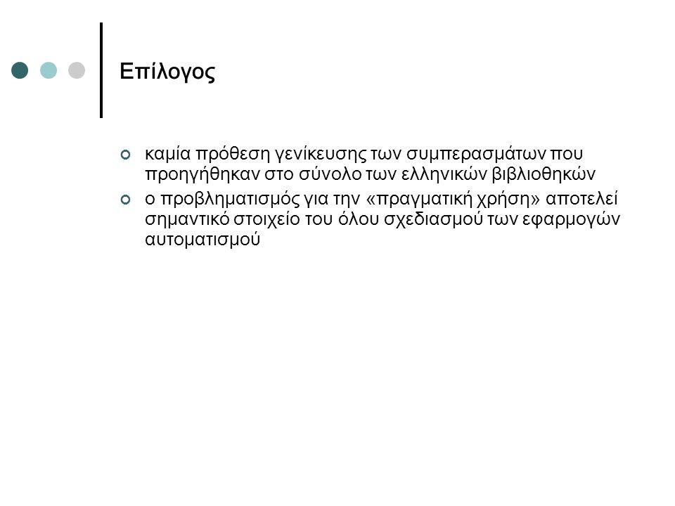 Επίλογος καμία πρόθεση γενίκευσης των συμπερασμάτων που προηγήθηκαν στο σύνολο των ελληνικών βιβλιοθηκών ο προβληματισμός για την «πραγματική χρήση» αποτελεί σημαντικό στοιχείο του όλου σχεδιασμού των εφαρμογών αυτοματισμού