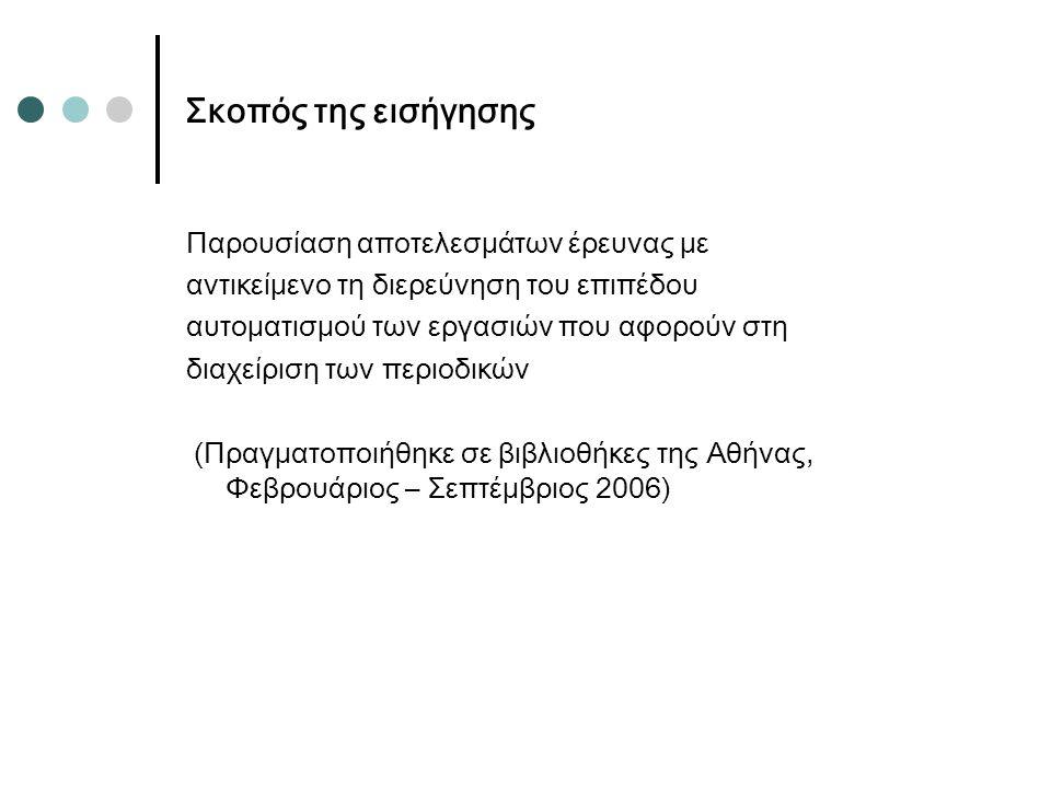 Σκοπός της εισήγησης Παρουσίαση αποτελεσμάτων έρευνας με αντικείμενο τη διερεύνηση του επιπέδου αυτοματισμού των εργασιών που αφορούν στη διαχείριση των περιοδικών (Πραγματοποιήθηκε σε βιβλιοθήκες της Αθήνας, Φεβρουάριος – Σεπτέμβριος 2006)