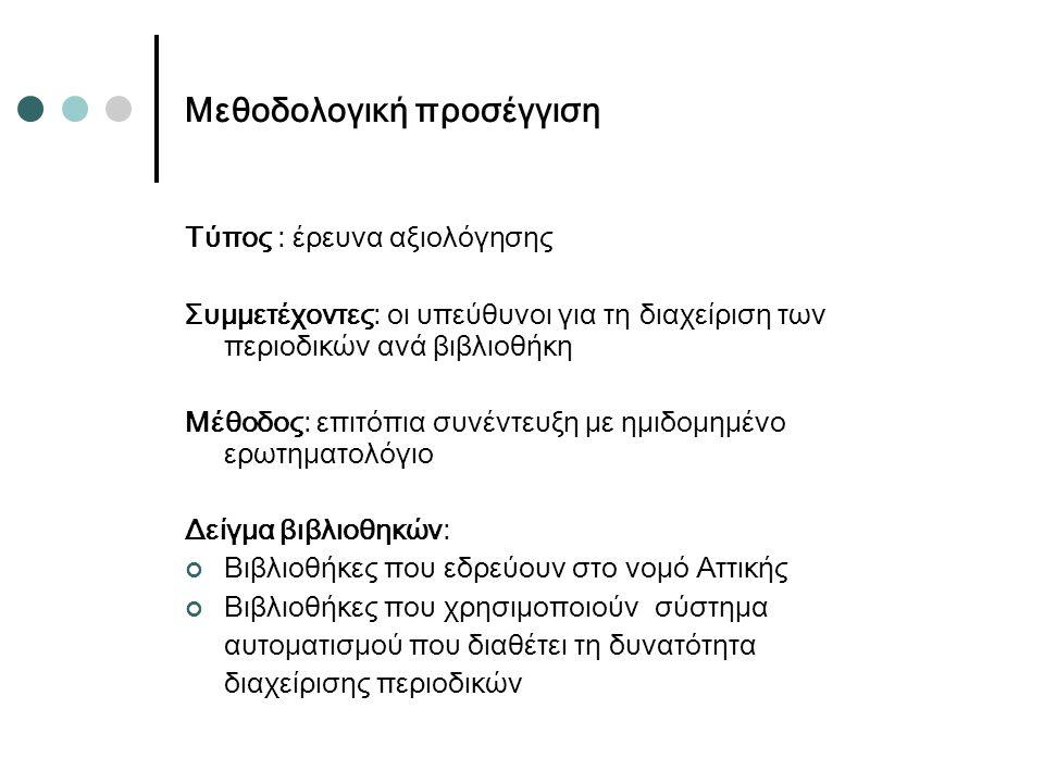 Μεθοδολογική προσέγγιση Τύπος : έρευνα αξιολόγησης Συμμετέχοντες: οι υπεύθυνοι για τη διαχείριση των περιοδικών ανά βιβλιοθήκη Μέθοδος: επιτόπια συνέντευξη με ημιδομημένο ερωτηματολόγιο Δείγμα βιβλιοθηκών: Βιβλιοθήκες που εδρεύουν στο νομό Αττικής Βιβλιοθήκες που χρησιμοποιούν σύστημα αυτοματισμού που διαθέτει τη δυνατότητα διαχείρισης περιοδικών