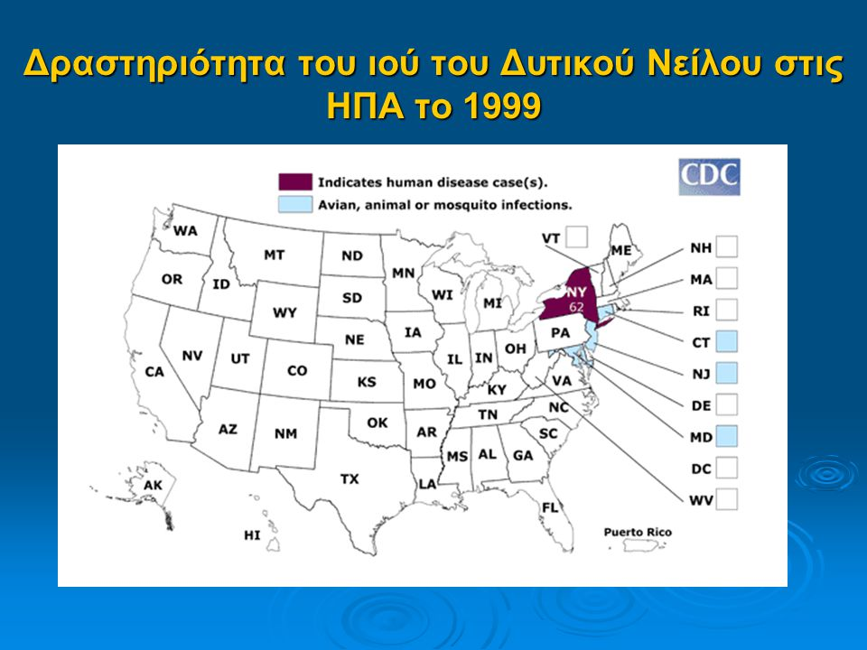 Δραστηριότητα του ιού του Δυτικού Νείλου στις ΗΠΑ το 1999