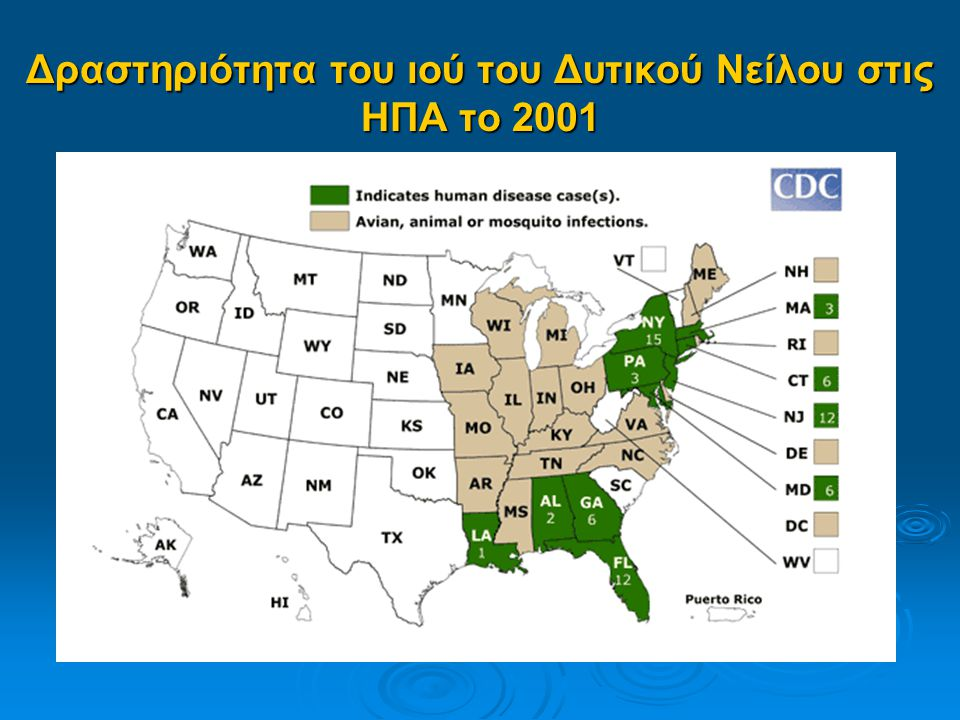 Δραστηριότητα του ιού του Δυτικού Νείλου στις ΗΠΑ το 2001
