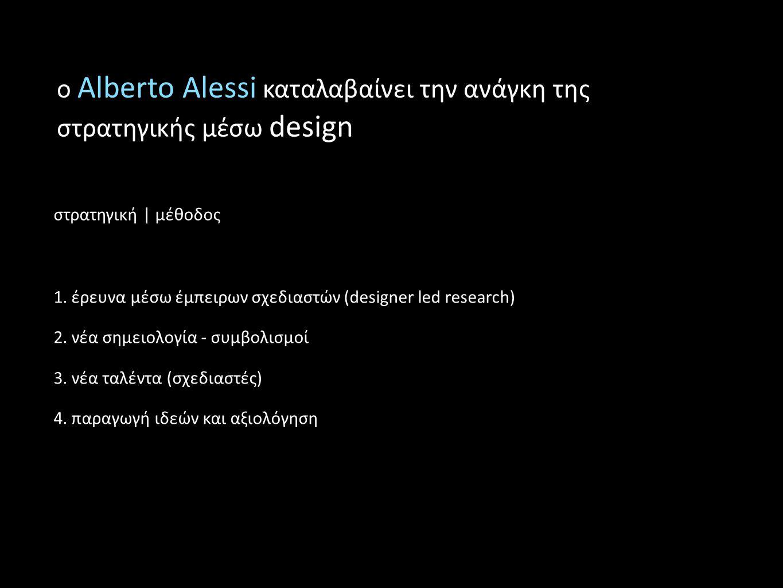 ο Alberto Alessi καταλαβαίνει την ανάγκη της στρατηγικής μέσω design στρατηγική | μέθοδος 1. έρευνα μέσω έμπειρων σχεδιαστών (designer led research) 2