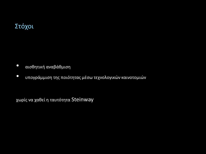 Στόχοι αισθητική αναβάθμιση υπογράμμιση της ποιότητας μέσω τεχνολογικών καινοτομιών χωρίς να χαθεί η ταυτότητα Steinway