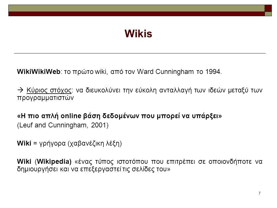 7 Wikis WikiWikiWeb: το πρώτο wiki, από τον Ward Cunningham το 1994.