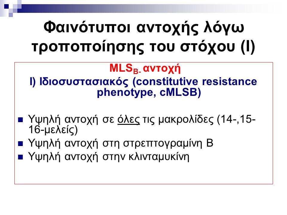 Φαινότυποι αντοχής λόγω τροποποίησης του στόχου (Ι) MLS Β- αντοχή Ι) Ιδιοσυστασιακός (constitutive resistance phenotype, cMLSB) Υψηλή αντοχή σε όλες τ