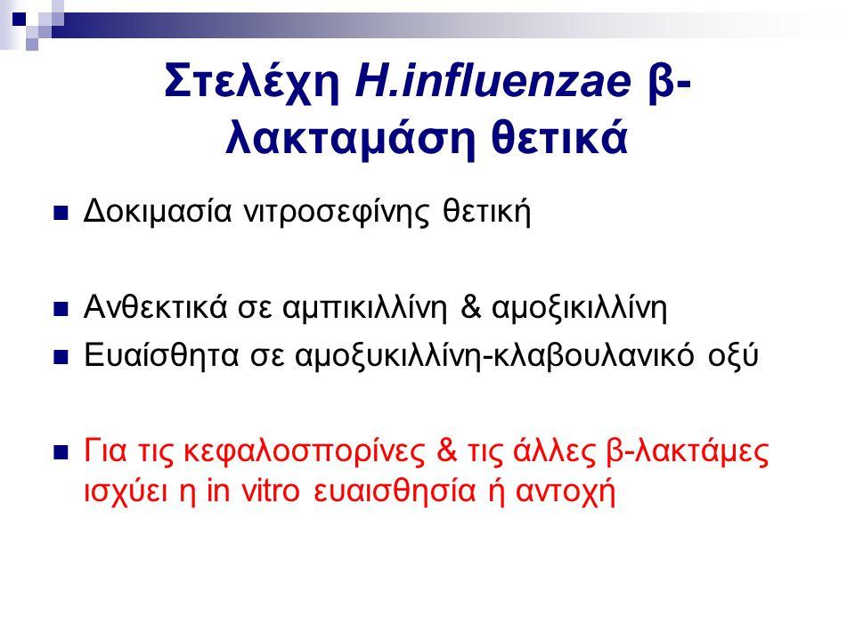 Στελέχη H.influenzae β- λακταμάση θετικά Δοκιμασία νιτροσεφίνης θετική Ανθεκτικά σε αμπικιλλίνη & αμοξικιλλίνη Ευαίσθητα σε αμοξυκιλλίνη-κλαβουλανικό