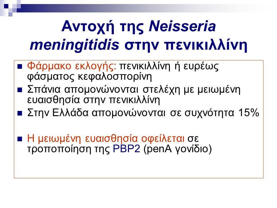 Αντοχή της Neisseria meningitidis στην πενικιλλίνη Φάρμακο εκλογής: πενικιλλίνη ή ευρέως φάσματος κεφαλοσπορίνη Σπάνια απομονώνονται στελέχη με μειωμέ