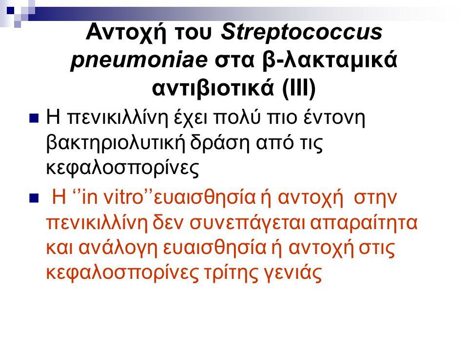 Αντοχή του Streptococcus pneumoniae στα β-λακταμικά αντιβιοτικά (ΙΙΙ) Η πενικιλλίνη έχει πολύ πιο έντονη βακτηριολυτική δράση από τις κεφαλοσπορίνες Η