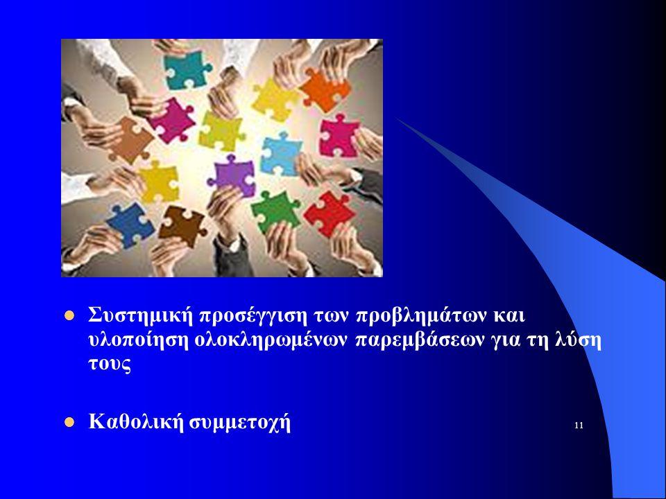 Συστημική προσέγγιση των προβλημάτων και υλοποίηση ολοκληρωμένων παρεμβάσεων για τη λύση τους Καθολική συμμετοχή 11