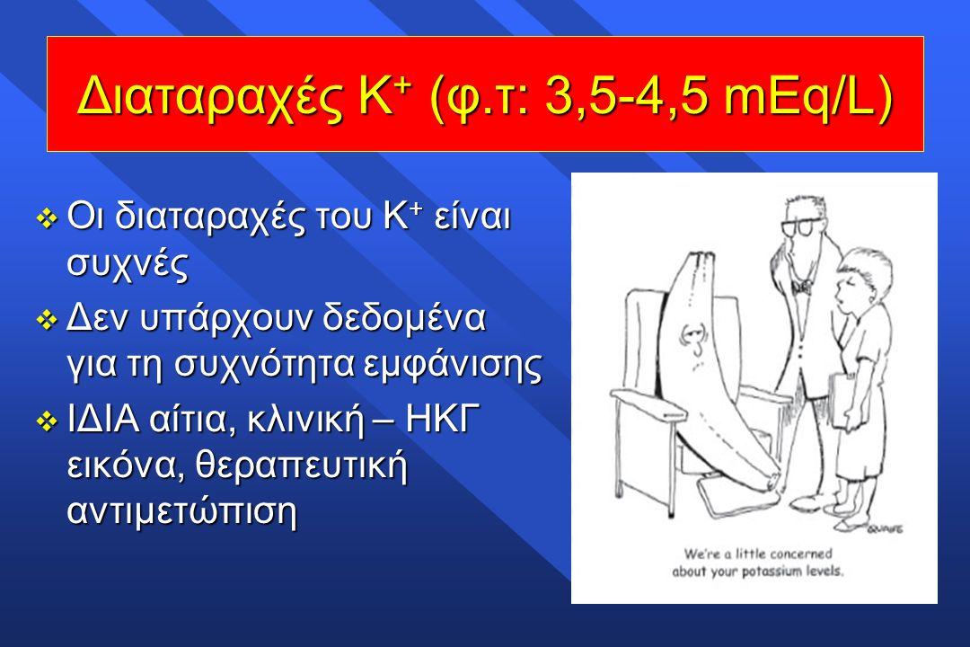  Οι διαταραχές του Κ + είναι συχνές  Δεν υπάρχουν δεδομένα για τη συχνότητα εμφάνισης  ΙΔΙΑ αίτια, κλινική – ΗΚΓ εικόνα, θεραπευτική αντιμετώπιση Δ
